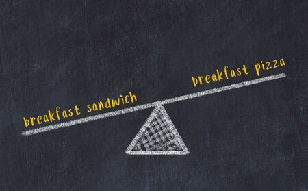 Chalk board sketch of scales. Concept of balance between breakfast pizza and breakfast sandwich. Banque d'images - 132100708