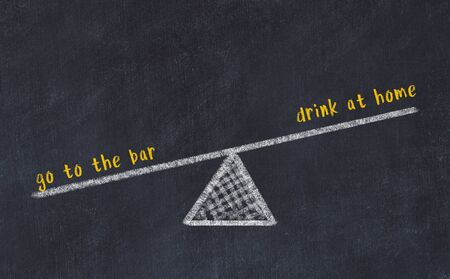 Chalk board sketch of scales. Concept of balance between go to the bar and drink at home. Stok Fotoğraf