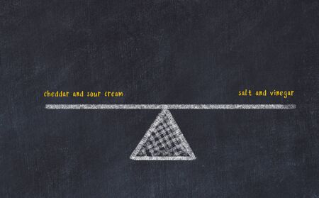 Chalk board sketch of scales. Concept of balance between cheddar and sour cream and salt and vinegar.