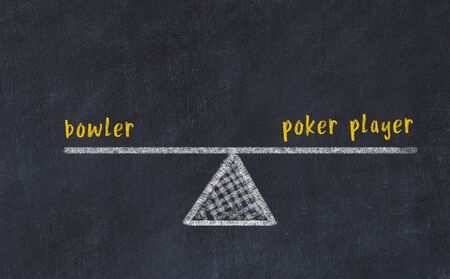 Chalk board sketch of scales. Concept of balance between bowler and poker player.