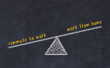 Chalk board sketch of scales. Concept of balance between work from home and commute to work. Stok Fotoğraf