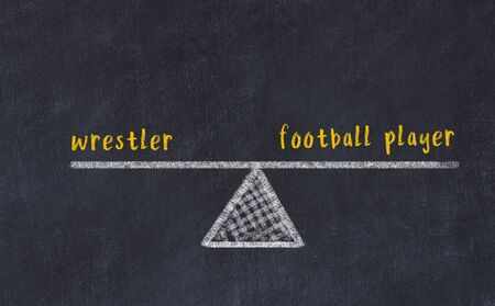 Chalk board sketch of scales. Concept of balance between wrestler and football player.