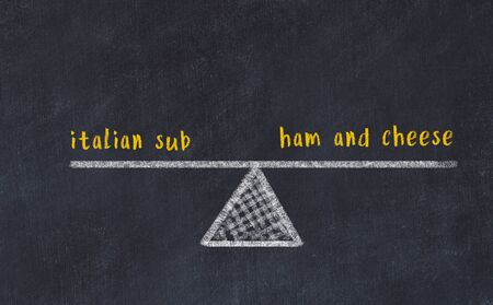 Chalk board sketch of scales. Concept of balance between italian sub and ham and cheese. Stok Fotoğraf