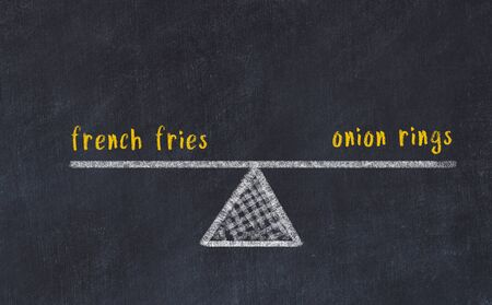 Chalk board sketch of scales. Concept of balance between french fries and onion rings.