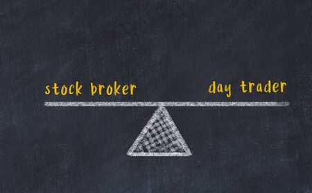 Chalk board sketch of scales. Concept of balance between stock broker and day trader.