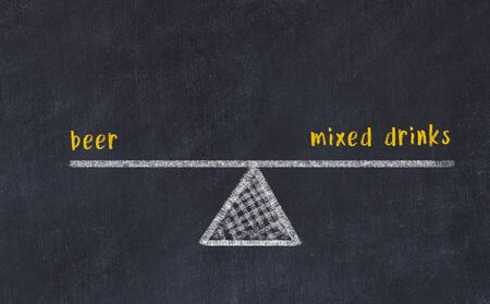 Chalk board sketch of scales. Concept of balance between beer and mixed drinks. Фото со стока