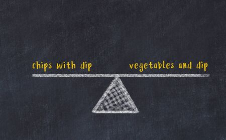 Chalk board sketch of scales. Concept of balance between chips with dip and vegetables and dip.