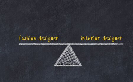 Chalk board sketch of scales. Concept of balance between fashion designer and interior designer.