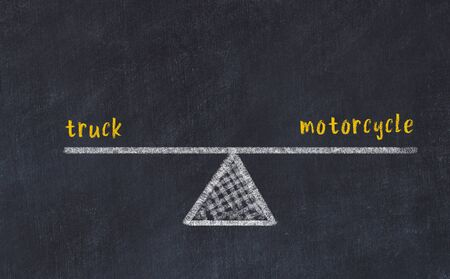 Chalk board sketch of scales. Concept of balance between truck and motorcycle.