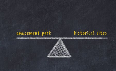 Chalk board sketch of scales. Concept of balance between amusement park and historical sites.