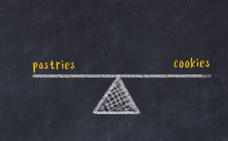 Chalk board sketch of scales. Concept of balance between pastries and cookies.