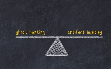 Chalk board sketch of scales. Concept of balance between ghost hunting and artifact hunting.