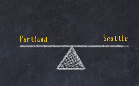 Chalk board sketch of scales. Concept of balance between portland and seattle.