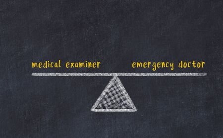 Chalk board sketch of scales. Concept of balance between medical examiner and emergency doctor.