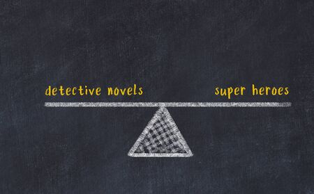 Chalk board sketch of scales. Concept of balance between detective novels and super heroes. Фото со стока