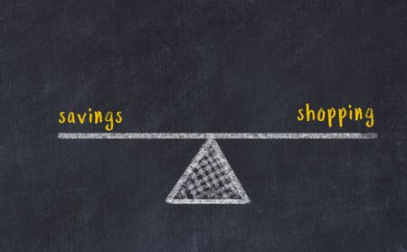 Chalk board sketch of scales. Concept of balance between savings and shopping.