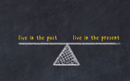 Chalk board sketch of scales. Concept of balance between live in the past and live in the present. Фото со стока