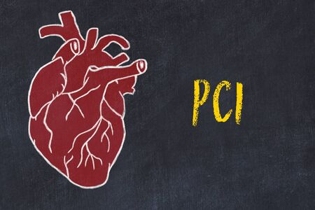 Chalk drawing of a human heart on black chalkboard and inscription PCI