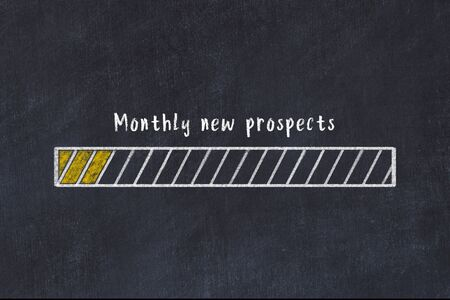 Concept of evaluating KPI. Chalk drawing of progress bar with inscription Monthly new prospects