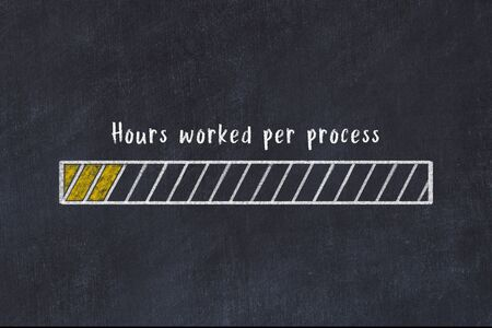 Concept of evaluating KPI. Chalk drawing of progress bar with inscription Hours worked per process Stock fotó