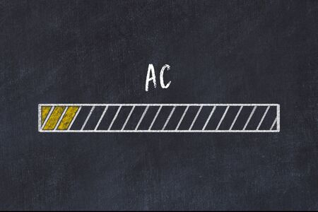 Evaluating of KPI concept. Progress bar on chalkboard with inscription AC