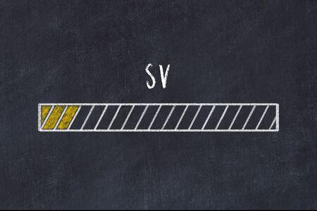 Concept of evaluating KPI. Chalk drawing of progress bar with inscription SV
