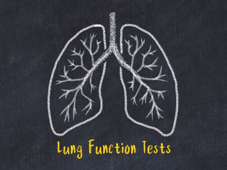 Concept of learning medicine. Chalk drawing of lungs with inscription Lung Function Tests