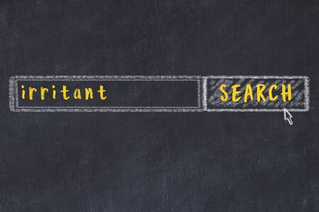 Drawing of search engine on black chalkboard. Concept of looking for irritant