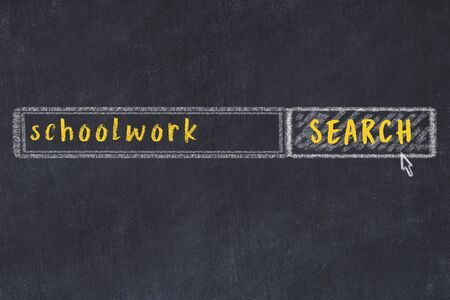 Drawing of search engine on black chalkboard. Concept of looking for schoolwork