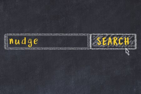 Concept of looking for nudge. Chalk drawing of search engine and inscription on wooden chalkboard Standard-Bild