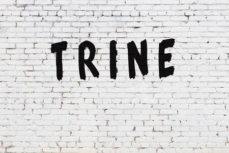 Word trine written with black paint on white brick wall. Stockfoto