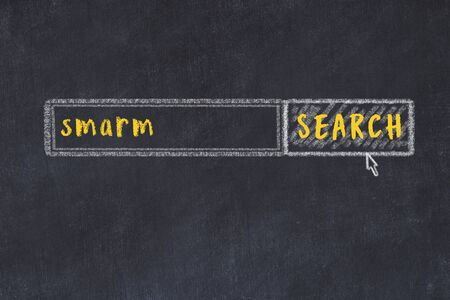 Drawing of search engine on black chalkboard. Concept of looking for smarm Reklamní fotografie