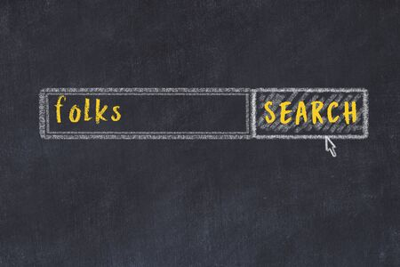 Drawing of search engine on black chalkboard. Concept of looking for folks