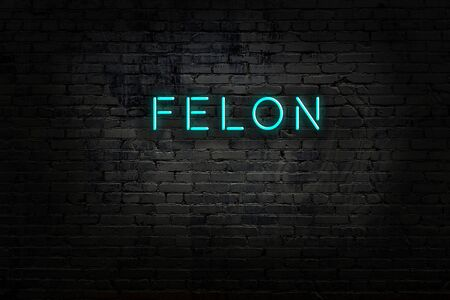 Night view of neon sign on brick wall with inscription felon Stock Photo