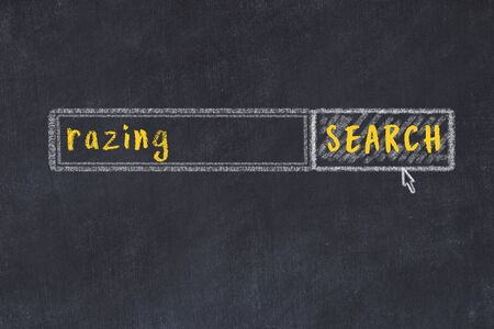 Drawing of search engine on black chalkboard. Concept of looking for razing