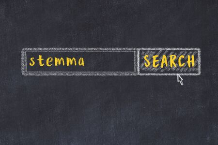 Concept of looking for stemma. Chalk drawing of search engine and inscription on wooden chalkboard