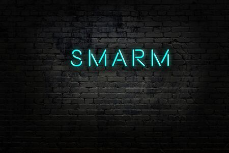 Neon sign with inscription smarm against brick wall. Night view Reklamní fotografie