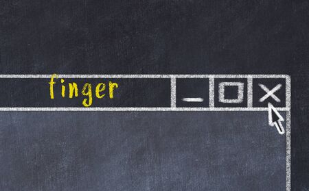 Closing browser window with caption finger. Chalk drawing. Concept of dealing with trouble