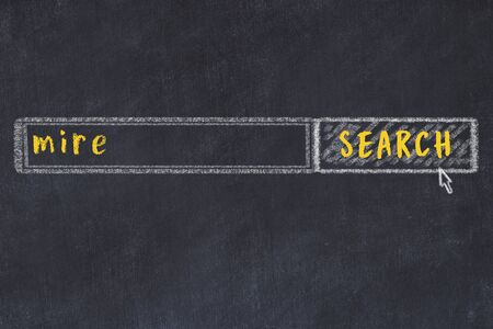 Concept of looking for mire. Chalk drawing of search engine and inscription on wooden chalkboard