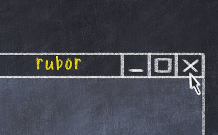 Closing browser window with caption rubor. Chalk drawing. Concept of dealing with trouble