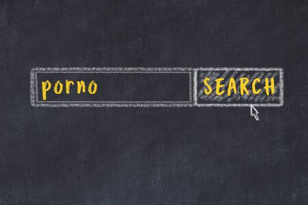 Concept of looking for porno. Chalk drawing of search engine and inscription on wooden chalkboard