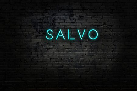 Night view of neon sign on brick wall with inscription salvo Stok Fotoğraf