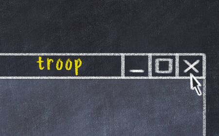 Chalk sketch of closing browser window with page header inscription troop