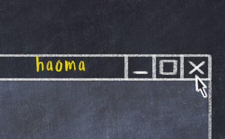 Chalk sketch of closing browser window with page header inscription haoma