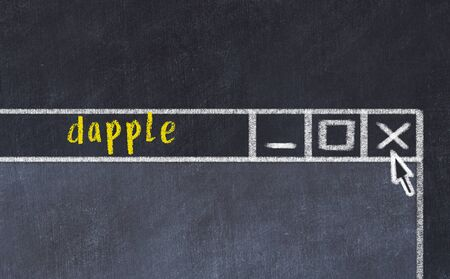 Chalk sketch of closing browser window with page header inscription dapple