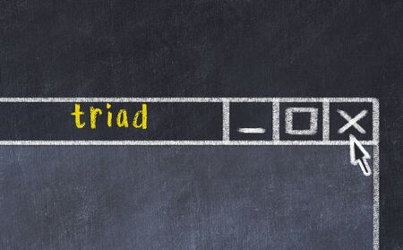 Closing browser window with caption triad. Chalk drawing. Concept of dealing with trouble