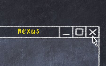 Chalk sketch of closing browser window with page header inscription nexus