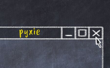 Chalk sketch of closing browser window with page header inscription pyxie   Фото со стока