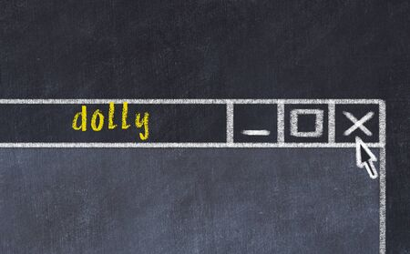 Closing browser window with caption dolly. Chalk drawing. Concept of dealing with trouble