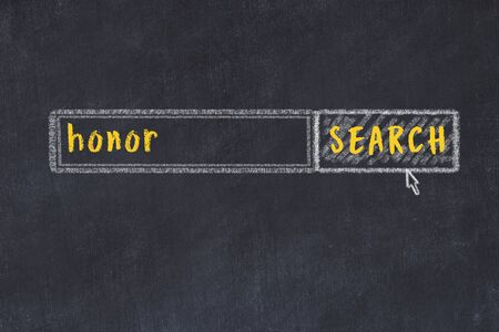 Concept of looking for honor. Chalk drawing of search engine and inscription on wooden chalkboard Stock Photo